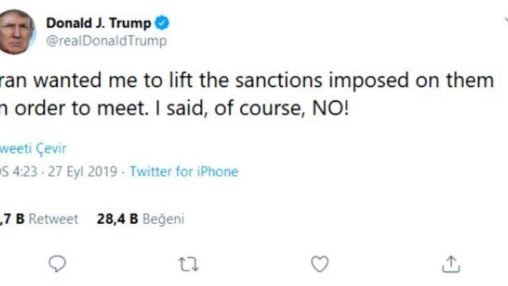 Trump, Ruhani'nin açıklamalarına cevap verdi